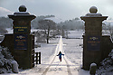 17/01/16<br /> <br /> A girl runs through the gates of Lower Hurst Farm near Hartington in the Derbyshire Peak District after overnight snowfall.<br /> <br /> All Rights Reserved: F Stop Press Ltd. +44(0)1335 418365   +44 (0)7765 242650 www.fstoppress.com