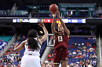 GREENSBORO, NC - MARCH 07: Taylor Soule #13 of Boston College shoots the ball during a game between Boston College and NC State at Greensboro Coliseum on March 07, 2020 in Greensboro, North Carolina.