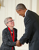 United States President Barack Obama presents the 2015 National Humanities Medal to Terry Gross, Radio Host & Producer of Philadelphia, Pennsylvania, during a ceremony in the East Room of the White House in Washington, DC on Thursday, September 22, 2016.<br /> Credit: Ron Sachs / CNP