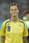 12 August 2008: Lotta Schelin (SWE).  The women's Olympic team of Sweden defeated the women's Olympic soccer team of Canada 2-1 at Beijing Workers' Stadium in Beijing, China in a Group E round-robin match in the Women's Olympic Football competition.