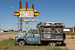 Route 66 - junk car and old cafe sign