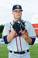 Rome Braves pitcher Jason Hursh (45) poses for a photo prior to the South Atlantic League game against the Kannapolis Intimidators at CMC-Northeast Stadium on August 25, 2013 in Kannapolis, North Carolina.  The Intimidators defeated the Braves 9-0.  (Brian Westerholt/Four Seam Images)