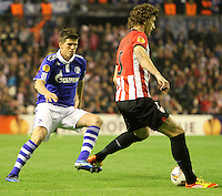 5.04.2012 Bilbao, Spain. Uefa Europa League. Picture show Amorebieta in action during match between Athletic Club against Shalke 04 at San Mames stadium