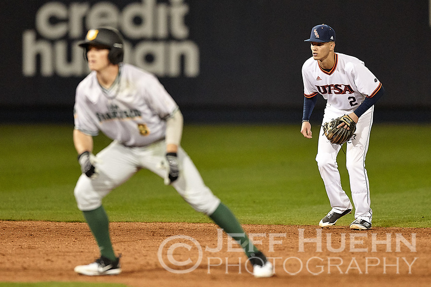 SAN ANTONIO, TX - FEBRUARY 16, 2018: The University of Texas at San Antonio Roadrunners fall to the University of San Francisco Dons 11-2 at Roadrunner Field. (Photo by Jeff Huehn)