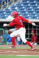 Clearwater Threshers Cesar Hernandez #7 at bat during a game against the Daytona Cubs at Brighthouse Stadium on June 23, 2011 in Clearwater, Florida.  Clearwater defeated Daytona 6-5.  (Mike Janes/Four Seam Images)