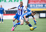 Kilmarnock v St Johnstone...19.09.15  SPFL Rugby Park, Kilmarnock<br /> Chris Kane is fouled by Kallum Higginbotham<br /> Picture by Graeme Hart.<br /> Copyright Perthshire Picture Agency<br /> Tel: 01738 623350  Mobile: 07990 594431