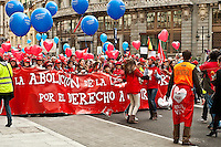 """Huge """"March for Life"""" demonstration against current Spanish abortion laws, March 7th, Madrid, Spain. Estimates indicate active participation by over 600,000 protestors."""