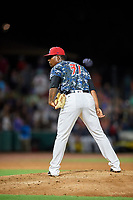 Jacksonville Jumbo Shrimp relief pitcher Esmerling De La Rosa (31) looks in for the sign during a game against the Mobile BayBears on April 14, 2018 at Baseball Grounds of Jacksonville in Jacksonville, Florida.  Mobile defeated Jacksonville 13-3.  (Mike Janes/Four Seam Images)