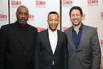 Mike Jackson, John Legend and Eric Falkenstein attends August Wilson's 'Jitney' Broadway opening night after party at Copacabana on January 19, 2017 in New York City.