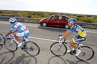 Jesus Hernandez (r) and Adrian Palomares during the stage of La Vuelta 2012 between Ponteareas and Sanxenxo.August 28,2012. (ALTERPHOTOS/Paola Otero) /NortePhoto.com<br /> <br /> **CREDITO*OBLIGATORIO** <br /> *No*Venta*A*Terceros*<br /> *No*Sale*So*third*<br /> *** No*Se*Permite*Hacer*Archivo**<br /> *No*Sale*So*third*