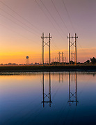 Reflection of powerlines in marsh at Hampton, New Hampshire