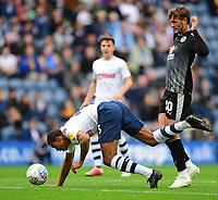 Preston North End's Lukas Nmecha is fouled by Reading's John Swift<br /> <br /> Photographer Chris Vaughan/CameraSport<br /> <br /> The EFL Sky Bet Championship - Preston North End v Reading - Saturday 15th September 2018 - Deepdale - Preston<br /> <br /> World Copyright &copy; 2018 CameraSport. All rights reserved. 43 Linden Ave. Countesthorpe. Leicester. England. LE8 5PG - Tel: +44 (0) 116 277 4147 - admin@camerasport.com - www.camerasport.com