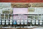 Gas meters on building.