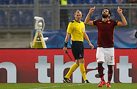 Calcio, Champions League, Gruppo E: Roma vs Bayer Leverkusen. Roma, stadio Olimpico, 4 novembre 2015.<br /> Roma's Mohamed Salah celebrates after scoring during a Champions League, Group E football match between Roma and Bayer Leverkusen, at Rome's Olympic stadium, 4 November 2015.<br /> UPDATE IMAGES PRESS/Riccardo De Luca