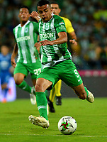 MEDELLÍN - COLOMBIA, 26-01-2019: Omar Duarte de Atlético Nacional en acción, durante partido de la fecha 1 entre Atlético Nacional y Once Caldas, por la Liga Águila I 2019, jugado en el estadio Atanasio Girardot de la ciudad de Medellín. / Omar Duarte of Atletico Nacional in action, during a match of the 1st date between Atletico Nacional and Once Caldas for the Aguila League I 2019, played at Atanasio Girardot stadium in Medellin city. Photo: VizzorImage / León Monsalve / Cont.