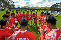 The Tonga team huddles after the international rugby match between  New Zealand Schools Barbarians and Tonga Schools at the Sport and Rugby Institute in Palmerston North, New Zealand on Thursday, 28 September 2017. Photo: Dave Lintott / lintottphoto.co.nz