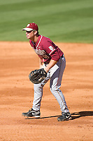 First baseman Jack Posey #5 of the Florida State Seminoles on defense versus the Miami Hurricanes at Durham Bulls Athletic Park May 21, 2009 in Durham, North Carolina.  (Photo by Brian Westerholt / Four Seam Images)