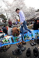 Cherry blossom viewing party, Ueno Park, Tokyo, Japan, April 3, 2010.