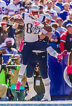12 October 2014: New England Patriots tight end Timothy Wright celebrates in the end zone during a game against the Buffalo Bills at Ralph Wilson Stadium in Orchard Park, NY. The Patriots defeated the Bills 37-22 to move into first place in the AFC Eastern Division. Mandatory Credit: Ed Wolfstein Photo *** RAW (NEF) Image File Available ***