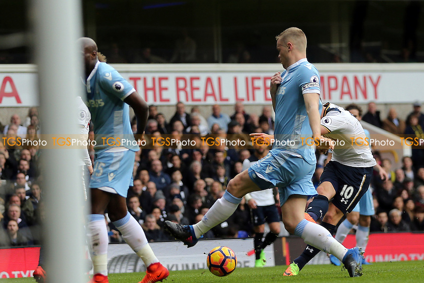 Harry Kane of Tottenham Hotspur scores the opening goal during Tottenham Hotspur vs Stoke City, Premier League Football at White Hart Lane on 26th February 2017