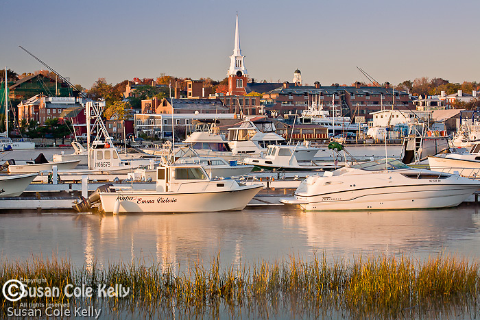Autumn sunrise on the Merrimack River in Newburyport, MA, USA