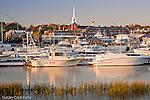 Autumn sunrise on the Merrimack River in Newburyport, MA, USA