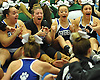 The Centereach varsity cheerleading squad reacts after winning an eight-team competition held at Bethpage High School on Sunday, Jan. 22, 2017. Appearing are, from left, Cierra Budke, Coach Stephani Catalano, Amanda Budke and Jessica Maina.