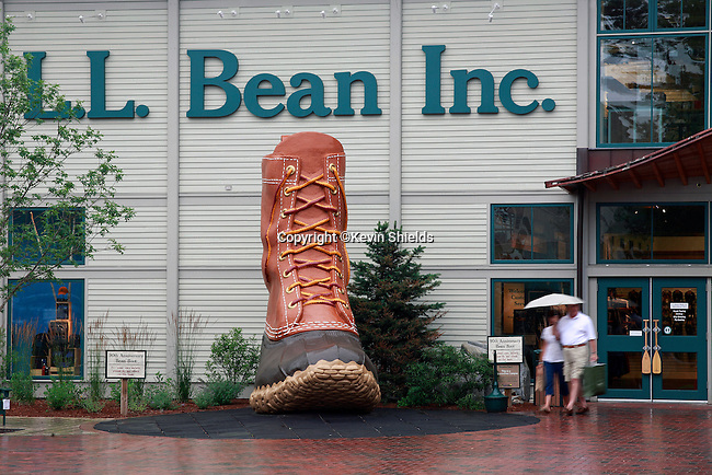 Large display of a Bean Boot, a hunting boot, outside of the L.L. Bean store in Freeport, Maine, USA