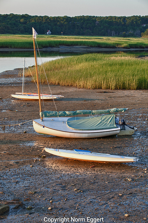 Three sailboats beached on the sand at low tide at Pamet Harbor