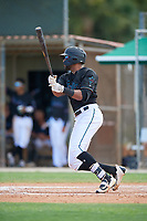 GCL Marlins Lorenzo Hampton (38) bats during a Gulf Coast League game against the GCL Astros on August 8, 2019 at the Roger Dean Chevrolet Stadium Complex in Jupiter, Florida.  GCL Marlins defeated GCL Astros 5-4.  (Mike Janes/Four Seam Images)