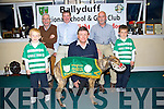 Ballyduff NS and GAA club launch their Night at the Dog fundraiser at the Kingdom Greyhound Stadium in November at the Ballyduff Gaa club on Monday. Pictured Luke Rochford, Gabriel Brown, Patrick Walsh, Paddy Ferris, Nicky Leen, Chairperson of Ballyduff GAA Club and Jake Rochford,