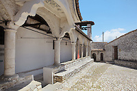 The National Onufri Museum in the Cathedral of the Virgin Mary inside Berat Castle or Kalaja e Beratit, in Berat, South-Central Albania, capital of the District of Berat and the County of Berat. The cathedral was built in 1797 on the foundations of an older church and its museum is named after Onufri or Onouphrios of Neokastro, Albania's famous 16th century icon painter. The museum comprises the main nave, the altar area, and several rooms in the North and West of the church. Picture by Manuel Cohen