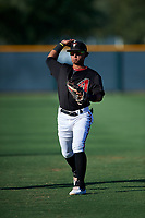 AZL D-backs Jose Curpa (3) warms up before an Arizona League game against the AZL Angels on July 20, 2019 at Salt River Fields at Talking Stick in Scottsdale, Arizona. The AZL Angels defeated the AZL D-backs 11-4. (Zachary Lucy/Four Seam Images)