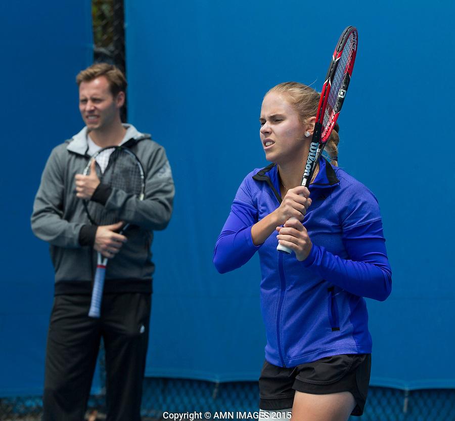 Mats Merkel (GER) Olga Fridman (UKR)<br /> <br /> Tennis - Australian Open 2015 - Grand Slam -  Melbourne Park - Melbourne - Victoria - Australia  - 26 January 2015. <br /> &copy; AMN IMAGES