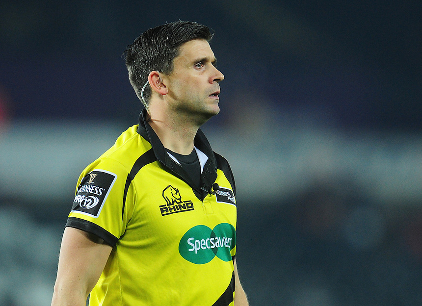 Referee Dudley Phillips<br /> <br /> Photographer Kevin Barnes/CameraSport<br /> <br /> Guinness PRO12 Round 10 - Ospreys v Edinburgh Rugby - Friday 2nd December 2016 - Liberty Stadium - Swansea<br /> <br /> World Copyright &copy; 2016 CameraSport. All rights reserved. 43 Linden Ave. Countesthorpe. Leicester. England. LE8 5PG - Tel: +44 (0) 116 277 4147 - admin@camerasport.com - www.camerasport.com