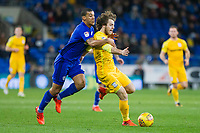 Ben Pearson of Preston North End is pressured by Lee Peltier of Cardiff City during the Sky Bet Championship match between Cardiff City and Preston North End at the Cardiff City Stadium, Cardiff, Wales on 29 December 2017. Photo by Mark  Hawkins / PRiME Media Images.