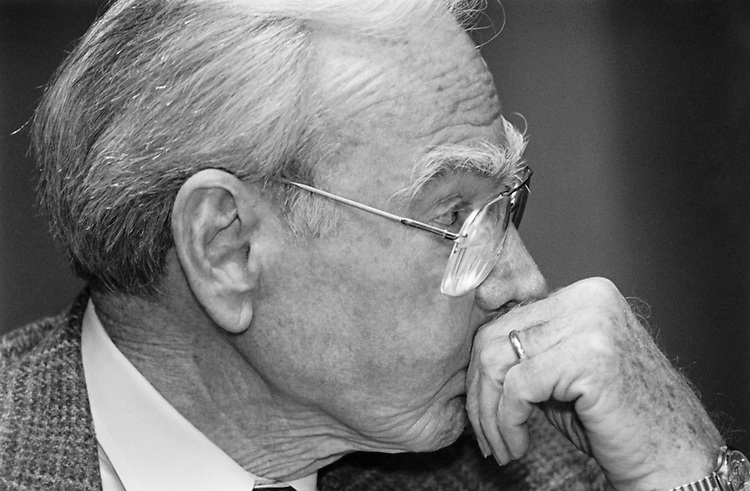 Former speaker Rep. Jim Wright, D-Texas, looking away. October 1993 (Photo by Maureen Keating/CQ Roll Call)