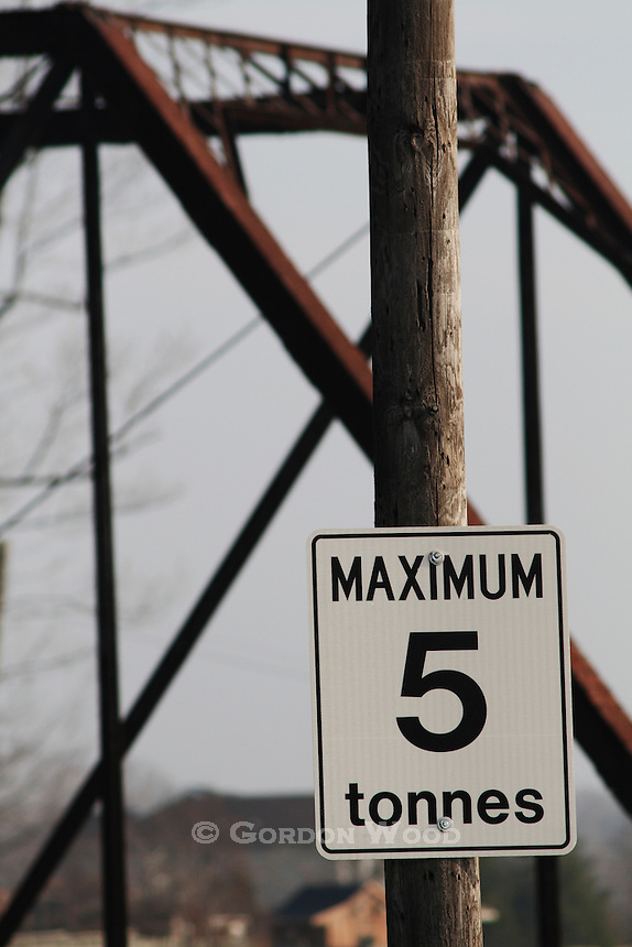 Maximum Load Sign at Truss Bridge Entrance