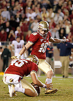 TALLAHASSEE, FL 11/19/11-FSU-UVA111911 CH-Florida State kicker Dustin Hopkins attempts to beat Virginia with a field goal in the final seconds of the game Saturday at Doak Campbell Stadium in Tallahassee. Hopkins kick went wide left. The Seminoles lost to the Cavaliers 14-13..COLIN HACKLEY PHOTO