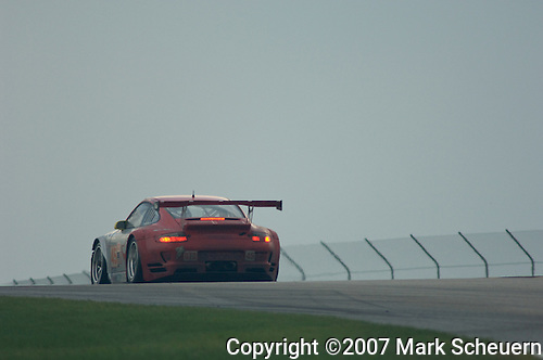 11 August 2007: The Flying Lizard Motorsports Porsche 911 GT3 RSR driven by Jorg Bergmeister and Johaness van Overbeek at the Generac 500 at Road America, Elkhart Lake, WI.