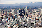 Aerial view of Downtown Los Angeles from Airship Ventures Hollywood Studios Zeppelin Air Tour, Los Angeles, CA