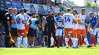 Luton Town Manager Nathan Jones tries to inspire his team during a water break during Portsmouth vs Luton Town, Sky Bet EFL League 1 Football at Fratton Park on 4th August 2018