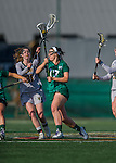 30 March 2016: Manhattan College Jasper Attacker Stefanie Ranagan, a Senior from Yorktown Heights, NY, battles for possession against University of Vermont Catamount Midfielder Brynne Yarranton, a Junior from Toronto, Ontario, at Virtue Field in Burlington, Vermont. The Lady Cats defeated the Jaspers 11-5 in non-conference play. Mandatory Credit: Ed Wolfstein Photo *** RAW (NEF) Image File Available ***