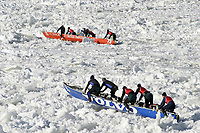 Quebec City, Carnival canoe race on the frozen St. Lawrence River<br /> PHOTO :  Agence Quebec presse