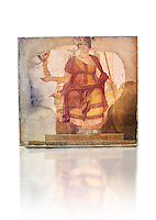 "Fresco of Venus sitting restored as Roma  known as the ""Dea Barberini"" (""Barberini goddess""), dating from the first quarter of the fourth century. A.D, excavated near to Baptistery of St. John Lateran , Rome Museo Nazionale Romano ( National Roman Museum), Rome, Italy. Against a white background."