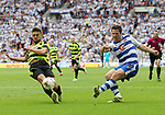 Huddersfield's Tommy Smith tussles with Reading's Yann Kermorgant during the Championship Play-Off Final match at Wembley Stadium, London. Picture date: May 29th, 2017. Pic credit should read: David Klein/Sportimage