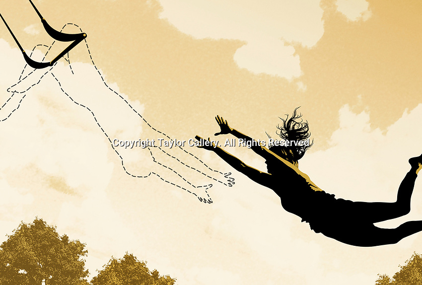 Woman in midair reaching for dotted line on trapeze ExclusiveImage