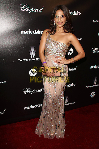 Azita Ghanizada.The Weinstein Company 2012 Golden Globe Awards After Party held at  Bar 210 at the Beverly Hilton Hotel, Hollywood, California, USA..January 15th, 2012.globes full length beige cream dress pink silver sequins sequined one shoulder hand on hip clutch bag.CAP/ADM/CH.©Charles Harris/AdMedia/Capital Pictures