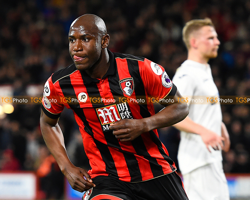 Benik Afobe of AFC Bournemouth scores his second goal and celebrates during AFC Bournemouth vs Swansea City, Premier League Football at the Vitality Stadium on 18th March 2017