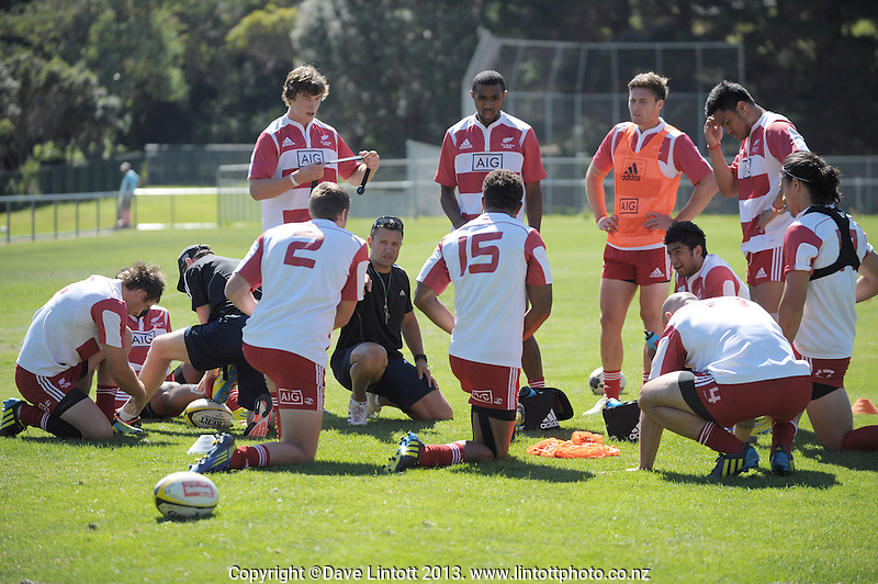 The team huddles during NZ sevens team training at Porirua Park, Porirua, Wellington, New Zealand on Tuesday, 29 January 2013. Photo: Dave Lintott / lintottphoto.co.nz